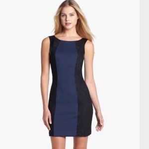 Guess Sleeveless Lace Faux Leather Bodycon Dress